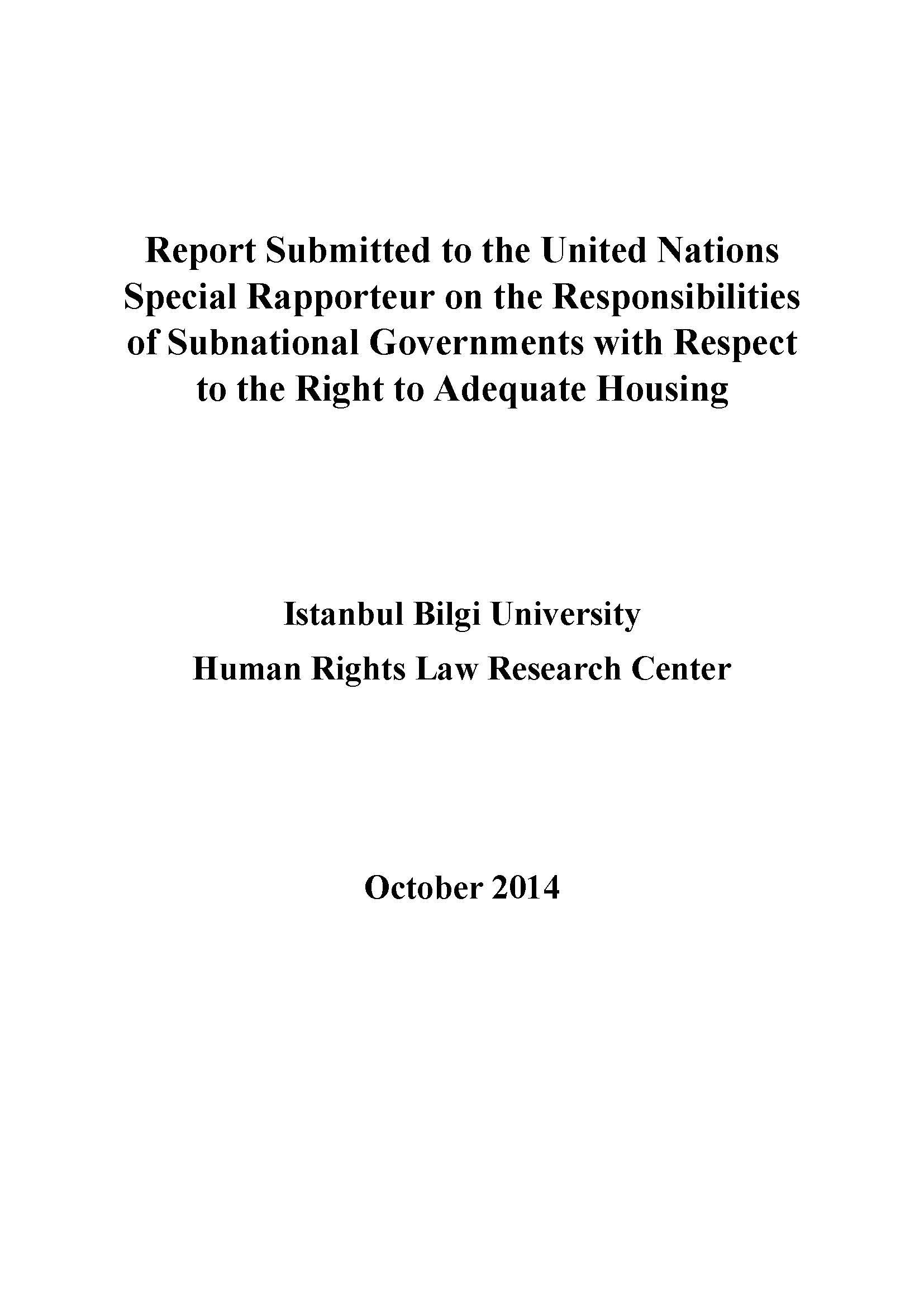 Responsibilities of Subnational Governments with Respect to the Right to Adequate Housing